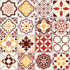 Portuguese vector tiles, Lisbon art pattern, Mediterranean seamless ornament in brown and yellow