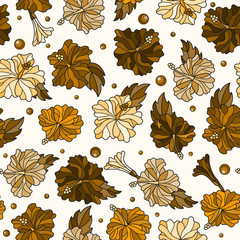 Seamless pattern with spring flowers in stained glass style, flowers, buds and leaves of  hibiscus ,tone brown,Sepia on a light  background
