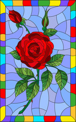 Illustration in stained glass style flower of red rose on a blue background in a bright frame