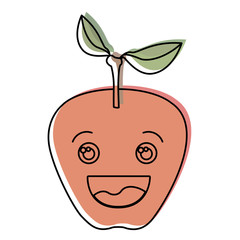 white background with watercolor silhouette of smiling cartoon apple fruit vector illustration