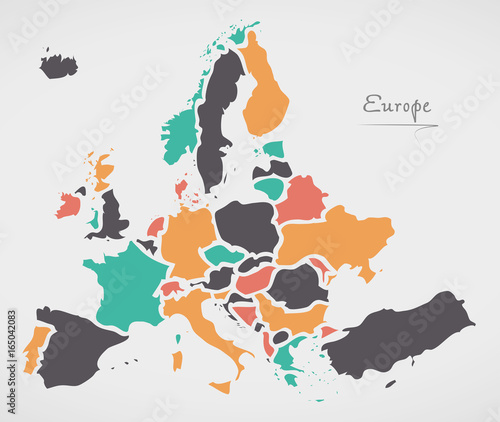Europe mainland map with states and modern round shapes stock image europe mainland map with states and modern round shapes gumiabroncs Image collections