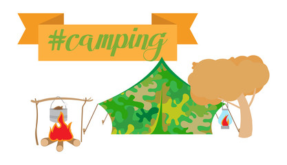 Vector illustration of camping collection on white background. Includes- tent, campfire, hot food, tree. Ribbon with lettering.