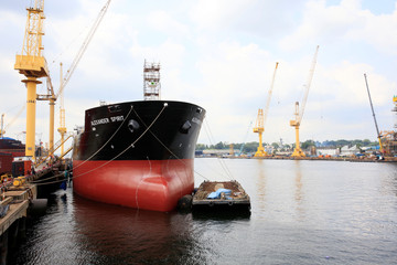 The Alexander Spirit oil tanker is docked at Sembawang shipyard while undergoing works in Singapore