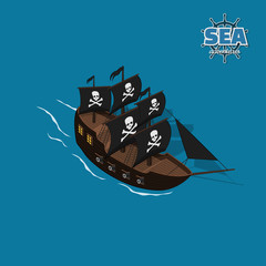 Pirate sailer on a blue background. Sailboat in isometric style. 3d illustration of ancient ship. Corsair game