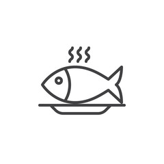 Fish food line icon, outline vector sign, linear style pictogram isolated on white. Symbol, logo illustration. Editable stroke. Pixel perfect vector graphics