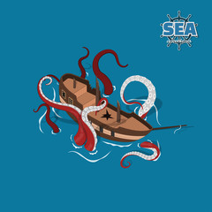 Broken sailer with kraken on blue background. Sailboat in isometric style. 3d illustration of ancient ship. Pirate game