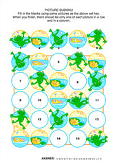 Picture sudoku puzzle 5x5 (one block) with frogs and pond life. Answer included.