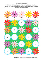 Picture sudoku puzzle 5x5 (one block) with gerbera daisy flowers. Answer included.