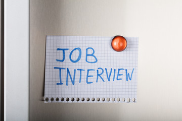 Job Interview Note Attached With Orange Magnetic Thumbtack