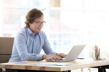 Mature man working with laptop in office