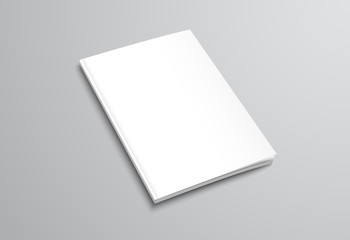 Template of white blank brochure on gray background.