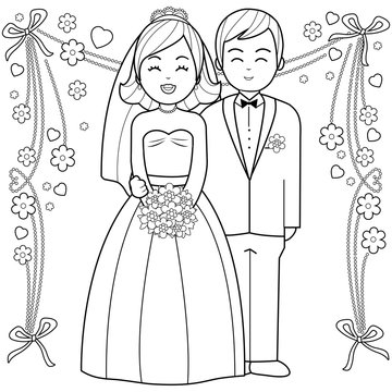 Bride and groom. Black and white coloring book page.