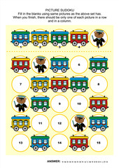 Railroad themed picture sudoku puzzle 5x5 (one block) with train cars and teddy bear as railway man. Answer included.
