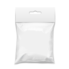 White realistic Polyethylene bag with Hang Slot.