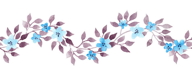Seamless banner line with vintage hand painted watercolor leaves. Repeated pattern.