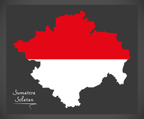 Sumatera Selatan Indonesia map with Indonesian national flag illustration