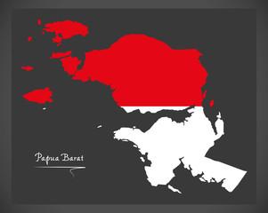 Papua Barat Indonesia map with Indonesian national flag illustration