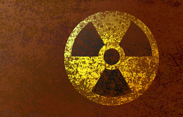 Radioactive hazard sign on a rusty, dirty background. Vector illustration