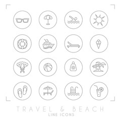 Outline thin travel and vacation icons set in circles. Sunglasses, umbrella, swim, sun, lifebuoy, ship, desk chair, ice cream, air sports, ball, sun cream, palms, flip flops, pool, bar and cocktail.