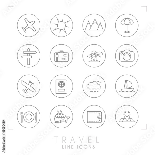 Outline Thin Travel And Vacation Icons Set In Circles Airplane Sun