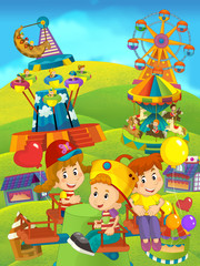 Cartoon happy and funny traditional scene with amusement park - illustration for children