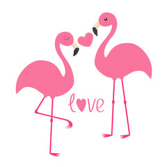 Pink flamingo couple and heart. Word love. Exotic tropical bird. Zoo animal kids collection. Cute cartoon character. Greeting card. Flat design. White background Isolated