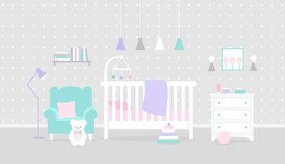 Vector nursery interior. Baby bedroom