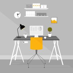 Vector interior office room