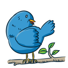 Cartoon bird on branch - Vector clipart illustration