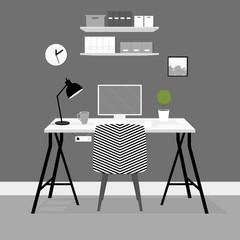 Vector interior. Workplace