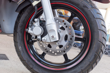 Front wheel of a sports motorcycle