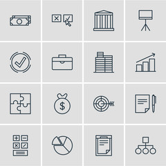 Vector Illustration Of 16 Business Icons. Editable Pack Of Portfolio , Riddle, Board Stand Elements.