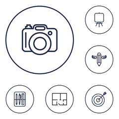 Set Of 6 Constructive Outline Icons Set.Collection Of Easel, Writing, Property Plan And Other Elements.