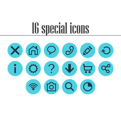 Vector Illustration Of 16 Member Icons. Editable Pack Of Magnifier, Mainpage, Wrong And Other Elements.