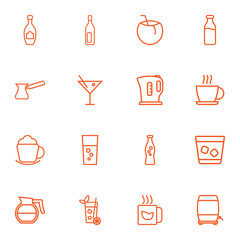 Set Of 16 Drinks Outline Icons Set.Collection Of Dairy, Coffee, Fizzy Water And Other Elements.
