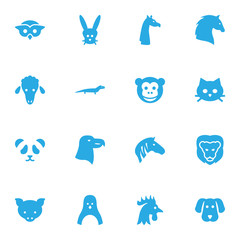 Set Of 16 Zoo Icons Set.Collection Of Camelopard, Bunny, Hound And Other Elements.