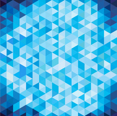 Abstract geometric blue triangle with copy space, isometric  view, vector