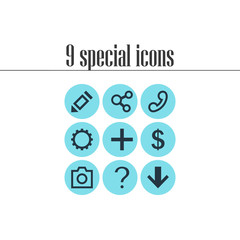 Vector Illustration Of 9 Member Icons. Editable Pack Of Help, Publish, Plus And Other Elements.