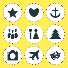 Vector Illustration Of 9 Map Icons. Editable Pack Of Aircraft, Heart, Jungle And Other Elements.
