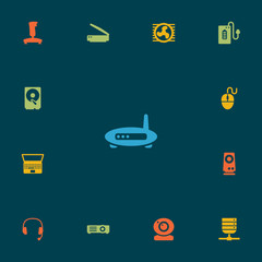 Set Of 13 Laptop Icons Set.Collection Of Control Device, Hard Disk, Show And Other Elements.
