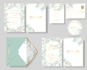 Set of botanical leaves wreath wedding invitation card.Green and mint color tone.Vector/Illustration