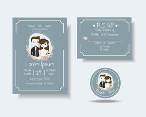 Set of Cartoon Couple Wedding Invitation Card.Rustic Concept.Vector/Illustration