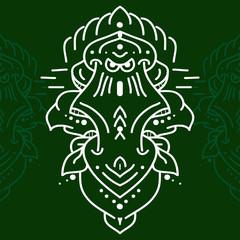 Ethnic mask icon. Flat mask tribal ethnic mask.