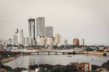 Skyscrapers and river in Cartagena de Indias
