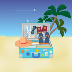 Summer suitcase filled with things for travel. Vector illustration.
