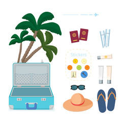 Set of accessories for travel. Designer of the traveler. Vector illustration.