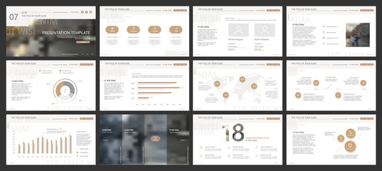 Gold and gray elements for infographics on a white background. Presentation templates. Use in presentation, flyer and leaflet, corporate report, marketing, advertising, annual report, banner. Wall mural