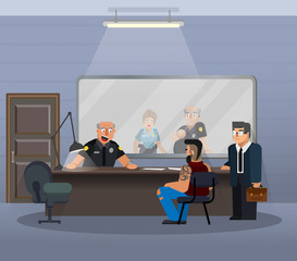 Vector illustration in a flat style, room for questioning a suspect in a police station.