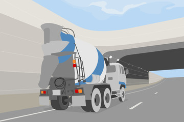 Cement truck on the road vector transportation background