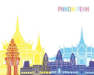 Fototapete - Phnom Penh skyline pop